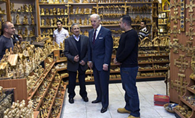 U.S. Vice President Joseph Biden visits a souvenir shop in the West Bank town of Bethlehem, Mar. 10, 2010. Biden reassured the Palestinians of U.S. support after Israel announced more building in East Jerusalem.