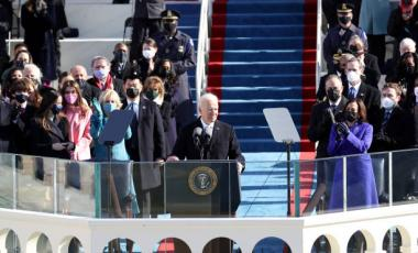 U.S. President Joe Biden delivers his inaugural address on the West Front of the U.S. Capitol on January 20, 2021 in Washington, DC.