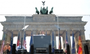 President Barack Obama delivers remarks at the Brandenburg Gate in Berlin, Germany, June 19, 2013. He called for a reduction in global nuclear weapons through more negotiations with Russia.