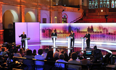 UK Prime Minister and Labour party leader Gordon Brown, at right, Conservative party leader David Cameron, second from left, and Liberal Democrat party leader Nick Clegg, second from right, in Britain's 3rd televised election debate, Apr. 29, 2010.
