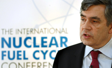 Prime Minister Gordon Brown at the International Nuclear Fuel Cycle Conference in London, Mar. 17, 2009. He indicated that the UK is ready to reduce its arsenal as part of a broader negotiation involving the U.S. and Russia.