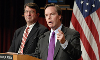 Nicholas Burns (right) addresses the John F. Kennedy Jr. Forum on March 11, 2008. Also pictured is Ashton B. Carter, who moderated the event.