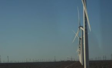 Hundreds of wind turbines in Guazhou County, Gansu province, China, 13 May 2013.