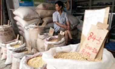 Guo Qinglin waits with sacks of corn and soybeans at the Baoding Seed Market, in Hebei province, China, on June 20, 2000. Almost all the cotton seeds sold at the market are genetically engineered to resist bollworms.