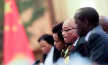 South African President Jacob Zuma, center, holds talks with Chinese President Hu Jintao (unseen) in Beijing, July 18, 2012. Zuma was in Beijing to attend the 5th Ministerial Meeting of the Forum on China-Africa Cooperation.
