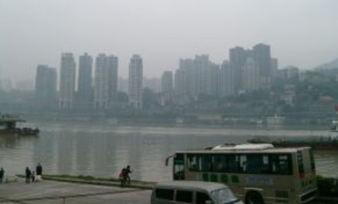 View of Chongqing from Chaotianmen, 25 October 2011. Chongqing's water footprint  depends heavily on virtual water inflow from other provinces.