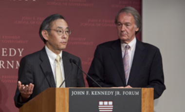 Secretary of Energy Steven Chu (left) discusses the need for new energy technology while Rep. Edward Markey listens at the John F. Kennedy Jr. Forum on August 6.