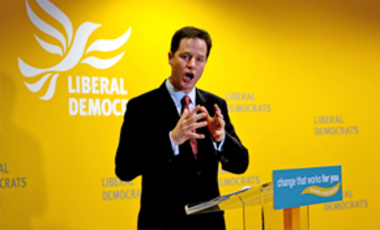 Liberal Democrat leader Nick Clegg dismissed Labour promises to overhaul the voting system, Apr. 7, 2010. Gordon Brown was expected to highlight Labour's plans for constitutional reform—including a referendum on proportional representation.