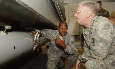General Roger Brady, USAFE Commander, is shown B61 nuclear weapon disarming procedures