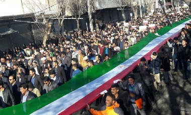 Iranian demonstrators in Tehran, Iran