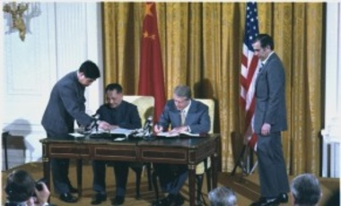 Deng Xiaoping and Jimmy Carter sign diplomatic agreements between the United States and China, January 31, 1979, 30 years after the founding of that state. The international community has often tried to ostracize revolutionary movements.