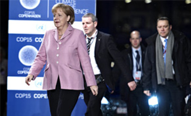 German Chancellor Angela Merkel arrives at Bella Center, site of the Copenhagen Climate Summit, Dec. 18, 2009. The largest and most important climate change conference is on its last scheduled day.
