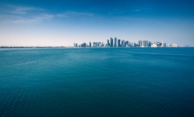 The West Bay district of Doha, Qatar, on the horizon.