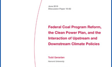 Federal Coal Program Reform, the Clean Power Plan, and the Interaction of Upstream and Downstream Climate Policies