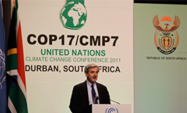 The United Kingdom's Chris Huhne, then Secretary of State for Energy and Climate Change, speaks at the UN Framework Convention on Climate Change's 17th Conference of the Parties in Durban, South Africa, Dec 8, 2011.