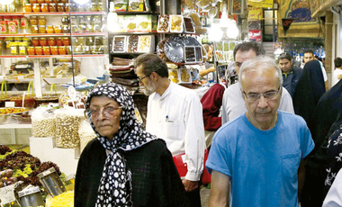 iranians shopping in bazaar