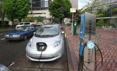 A Nissan Leaf charging in Portland, Ore. A series of fast-charging stations for electric cars will be installed this year along Interstate 5 in Southern Oregon to become one of the first links in a Green Highway stretching down the West Coast from Canada.