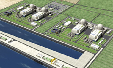 A rendering of 4 nuclear power plants to be built by a South Korea–led consortium in Sila, 330 km west of Abu Dhabi, UAE, released Dec. 27, 2009. The consortium won a US$20-billion contract to build these plants.