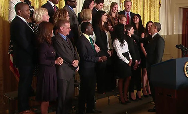 Presidential Praise: President Obama reaches out to shake hands with Francisco Aguilar (top row, third from right) during Entrepreneur's Demo Day at the White House.