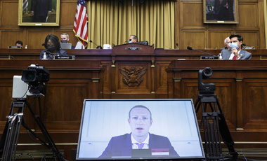 Facebook CEO Mark Zuckerberg speaks via video conference during a House Judiciary subcommittee hearing on antitrust on Capitol Hill on Wednesday, July 29, 2020.