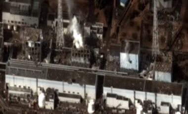 The Fukushima Nuclear Power Plant after the 2011 Tōhoku earthquake and tsunami. Reactor 1 to 4 from left to right.