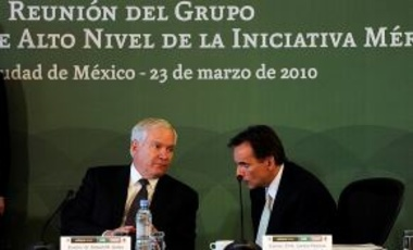 Secretary of Defense Robert M. Gates and U.S. Ambassador to Mexico Carlos Pascual attend the Merida Initiative Plenary, which focuses on helping the Mexican government fight drug-trafficking cartels and other security threats, 23 March 2010.