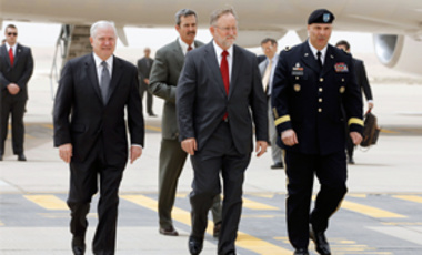 Apr. 6, 2011: Defense Secretary Robert Gates, left, U.S. Amb. to Saudi Arabia James Smith, center, and Maj. Gen. Robert Catalanotti, on the tarmac in Riyadh. The U.S. & Saudi Arabia are developing an elite force to protect Saudi oil & future nuclear sites
