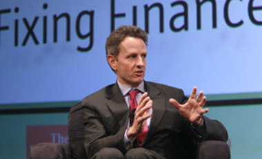 "U.S. Treasury Secretary Timothy Geithner participates in a question and answer session hosted by The Economist titled: ""Questions and Answers: A Conversation with Secretary Tim Geithner,"" at the Buttonwood Gathering, Thursday, Oct. 15, 2009 in New York."