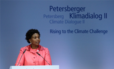 South Africa's Minister of International Relations & Cooperation Maite Nkoana-Mashabaneat at the Petersberg Climate Dialogue in Berlin, July 3, 2011. International delegations met for 2 days to prepare the upcoming UN climate conference in Durban.