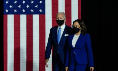 Presumptive Democratic presidential nominee former Vice President Joe Biden and his running mate Sen. Kamala Harris (D-CA) arrive to deliver remarks at the Alexis Dupont High School on August 12, 2020 in Wilmington, Delaware.