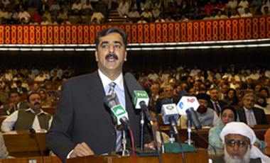Syed Yousuf Raza Gilani addresses the National Assembly following his election as Prime Minister.