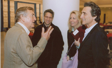 Following a screening of Countdown to Zero, Belfer Center Director Graham Allison (left) talks with Countdown producer Lawrence Bender (right), former CIA agent Valerie Plame, and Harvard professor Peter Galison.