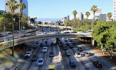 he Harbor Freeway, California State Route 110, in Downtown Los Angeles during afternoon rush hour.