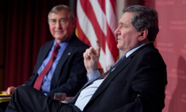 Ambassador Richard Holbrooke (right) makes a point at the John F. Kennedy, Jr. forum on March 4, 2010. Belfer Center Director Graham Allison (left) moderated the discussion.