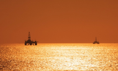 Two offshore oil rigs in the Caspian Sea