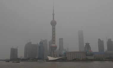 Pollution in the air over the densely populated area of Pudong in Shanghai