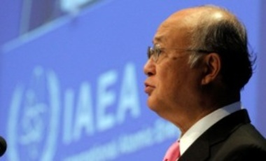 Director General of the International Atomic Energy Agency, IAEA, Yukiya Amano of Japan delivers a speech at the beginning of the general conference of the IAEA, at the International Center in Vienna, Austria, Sept. 19, 2011.