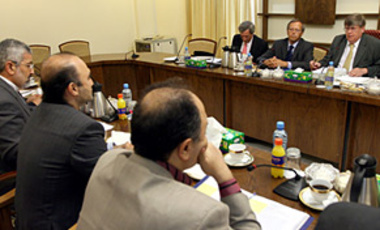 Iranian nuclear negotiatiors meet with officials from the International Atomic Energy Agency in Tehran, Aug. 20, 2007.