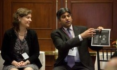 Aneesh Chopra (right), the first federal chief technology officer, with Susan Crawford, former special assistant to the president for science, technology, and innovation policy, at the conference.