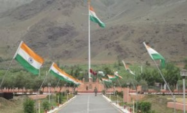 Kargil War Memorial by the Indian Army at Drass, India, 26 June 2013. The Kargil War was an armed conflict between India and Pakistan that occurred May–July 1999 in the Kargil district of Kashmir and elsewhere along the Line of Control.