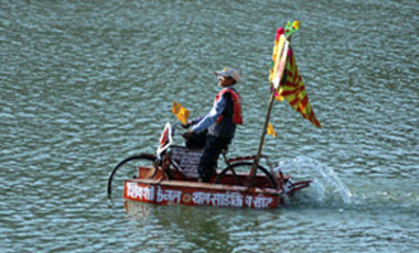 Indian innovator Dwarka Prasad Chaurasia, 75, displays his innovative Cycle Boat as part of an exhibition by the National Innovation Foundation at the Vastrapur Lake in Ahmadabad, India, Jan. 22, 2007.