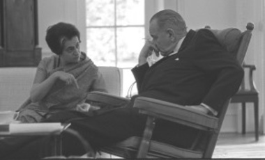 Indian Prime Minister Indira Gandhi and US President Lyndon B. Johnson meeting in the Oval Office of the White House, March 28, 1966.