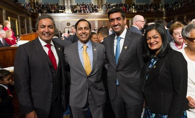 From left the right: Reps. Ami Bera (D-CA), Raja Krishnamorthi (D-IL), Ro Khanna (D-CA), and Pramila Jayapal (D-WA).