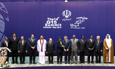 Brazil's President Luiz Inacio Lula da Silva (8th from left) and Iran's President Mahmoud Ahmadinejad (7th from left) at the 14th G-15 Summit, in Tehran, on May 17, 2010. Iran's Nuclear Program will also be discussed.