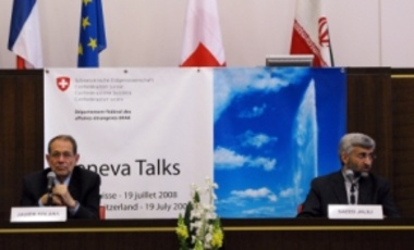 European Union foreign policy chief Javier Solana (L) with Iran's nuclear negotiator Saeed Jalili prior to unsuccessful talks on Iran's nuclear program, July 19, 2008, Geneva, Switzerland.