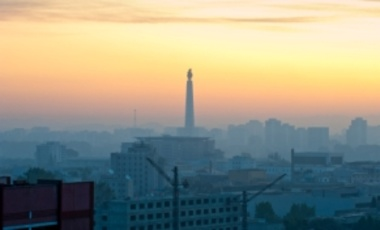 Juche Tower in the morning mist, Pyongyang, North Korea