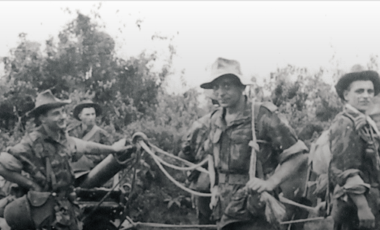 1st Foreign Company parachutist of heavy mortars in Indochina with 2 mortars Brandt 120 mm type A.M. 50