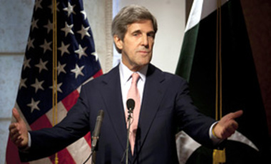 "U.S. Senator John Kerry addresses a news conference in Islamabad, Pakistan, on May 16, 2011. Kerry says he and Pakistani leaders have agreed to a ""series of steps"" to improve their nations' fraying ties."