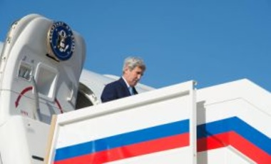 U.S. Secretary of State John Kerry disembarks from his airplane upon arriving in Moscow, Russia, on March 23, 2016, to meet with Russian officials to discuss Syria, Ukraine, and other global issues.