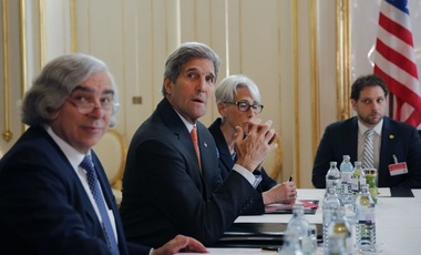 U.S. Secretary of Energy Ernest Moniz (left) and Secretary of State John Kerry (center) meeting in Vienna to discuss the Iran nuclear agreement.